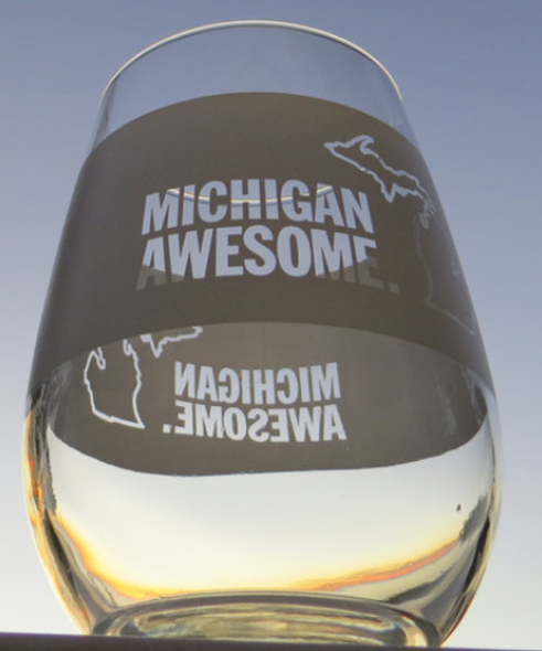 Michigan Awesome Wine Glass