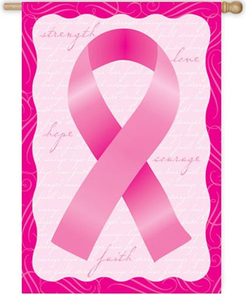Floral Pink Ribbon House Banner