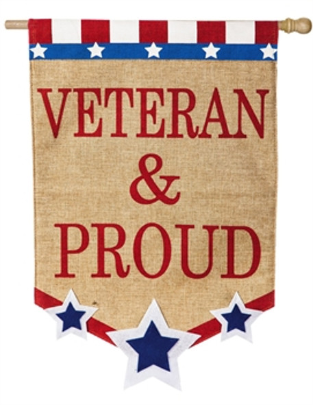 Veteran and Proud burlap flag