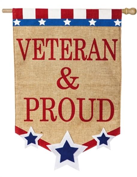 Veteran and Proud burlap flag