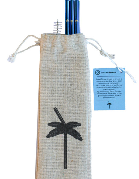 Sand Straw Dolphin Blue Straw Pack
