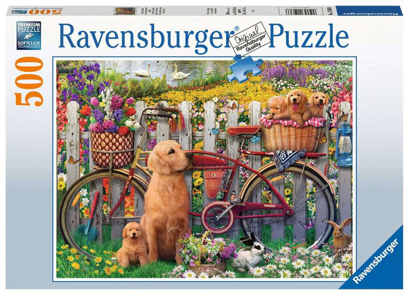 Cute Dogs in the Garden 500 pc puzzle