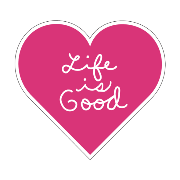 Heart Script Sticker- Life is Good