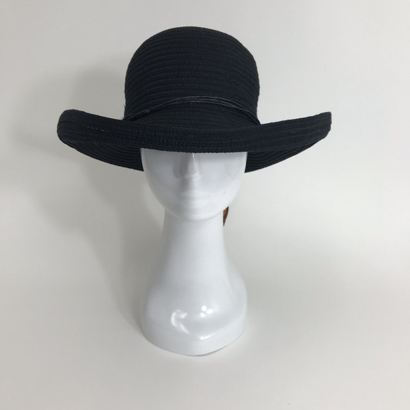 Black Roll Brim Sun Hat
