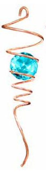 """10"""" Copper Spiral Tail with Aqua ball"""