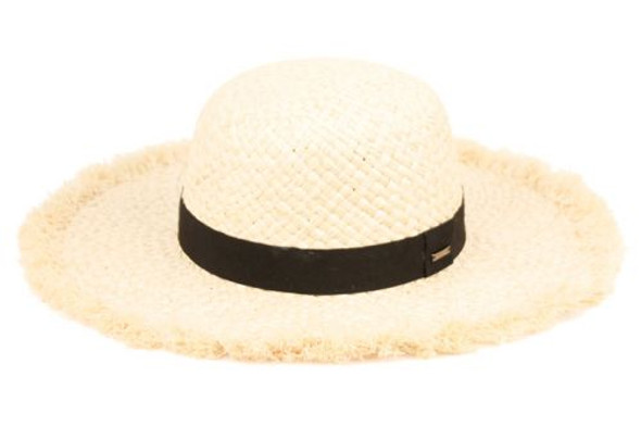 Rafia Raw Edge sun hat with band
