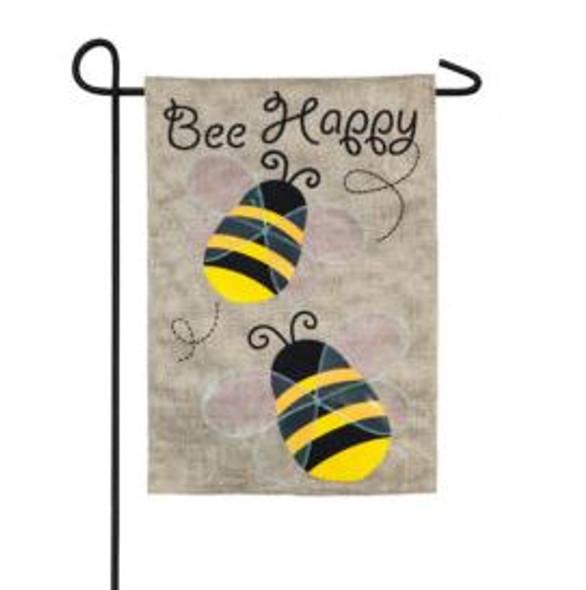 Portly Bees burlap Garden Flag