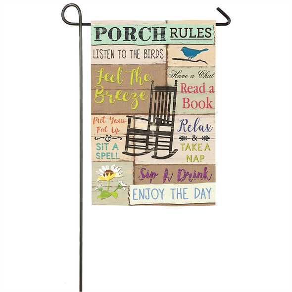 Porch Rules Garden Flag