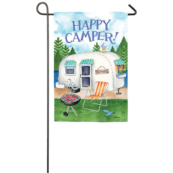 Happy Camper Garden Flag by Evergreen