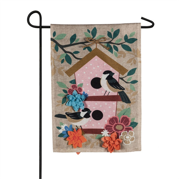 Chickadee and Flowers  burlap Garden Flag