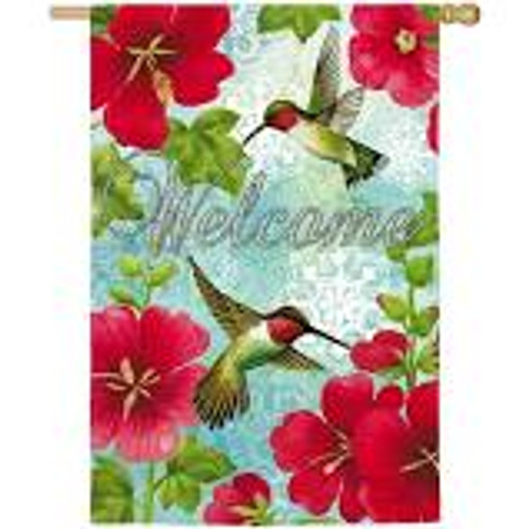 Hummingbird & Hollyhock House Flag