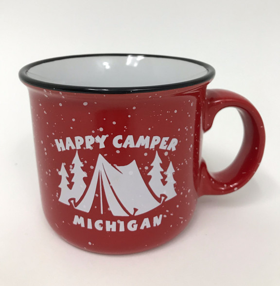 Happy Camper Tent Mug in Red