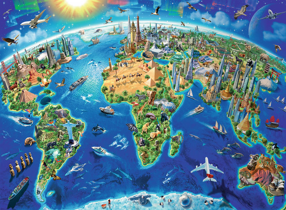 World Landmarks Map 300 pc XXL Puzzle