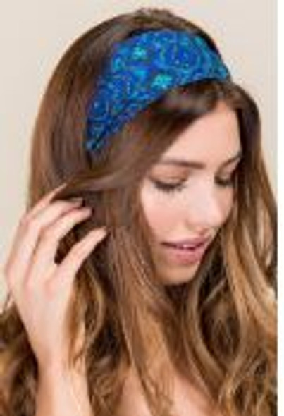 Geometric Blues and Greens Half Boho Bandeau