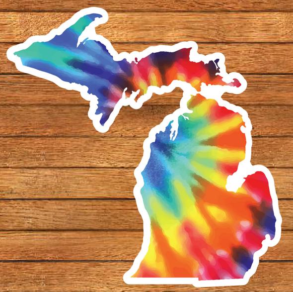 Tie Dye Die Cut Michigan sticker