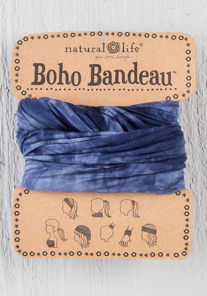 Navy & White Tie-Dye Boho Bandeau