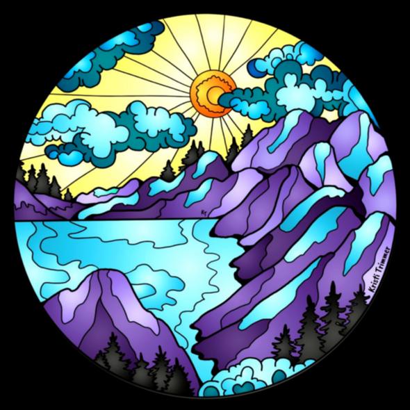 Mountain Range circle sticker