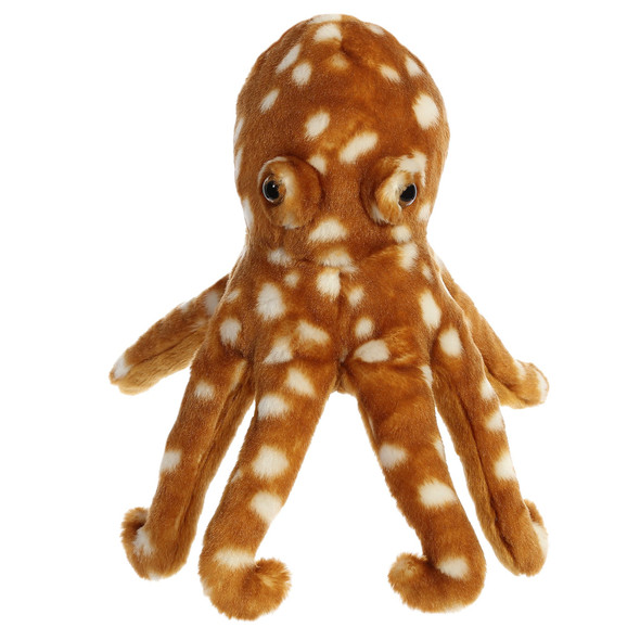 "Octopus 12"" brown / white  plush"