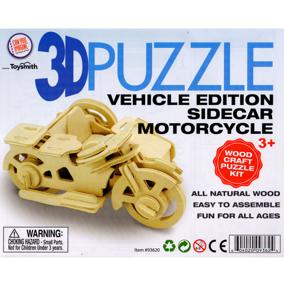 Wooden 3D Puzzle Sidecar Motorcycle