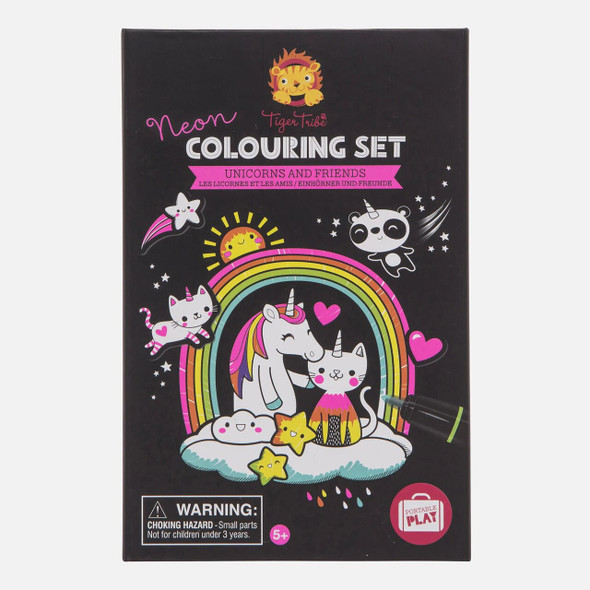 Neon Unicorns & Friends Coloring Set