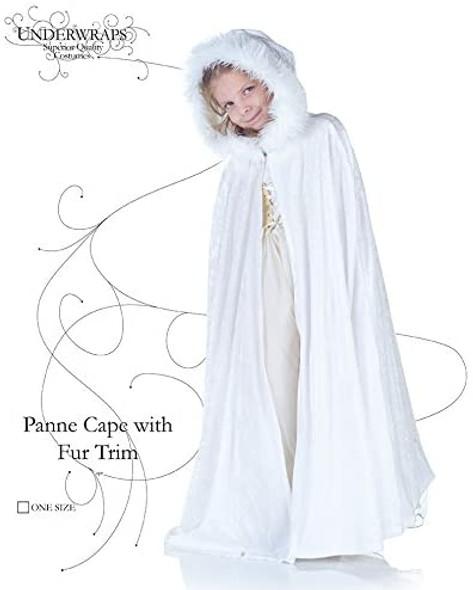 White Panne Cape with Fur Trim