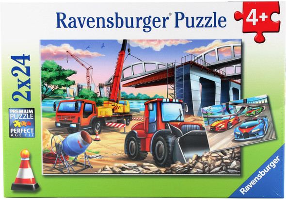 Construction and Cars 2x24pc Puzzle
