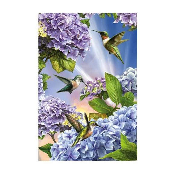 Hummingbirds and Hydrangeas Garden Banner