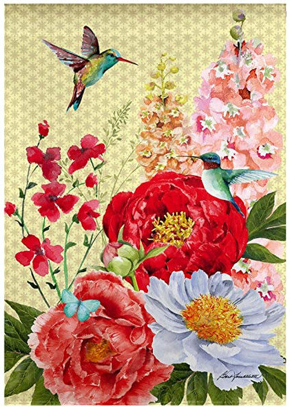 Hummingbirds and Peonies Banner