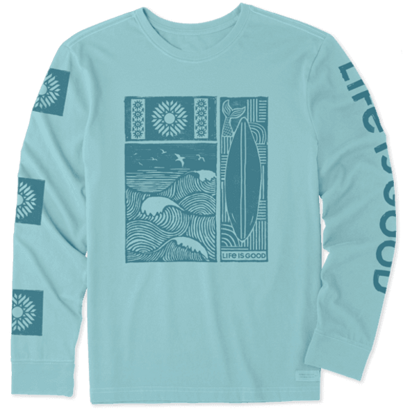 Woodblock Beach LS Crusher men's tee