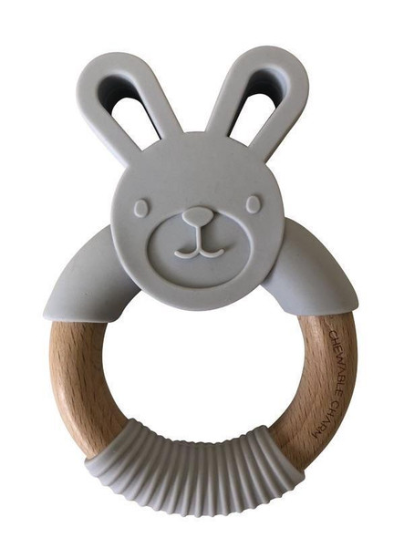 Grey Bunny Wood Teether