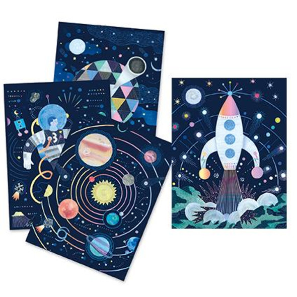 Cosmic Mission Pastel Scratch Board
