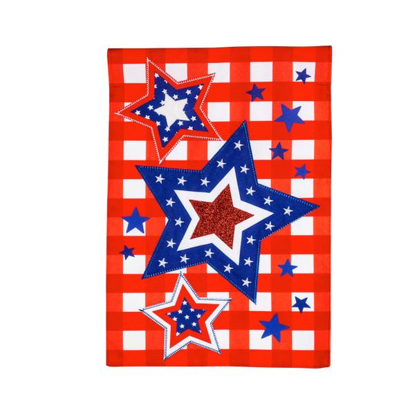 Patriotic Star Trio Garden Linen Flag