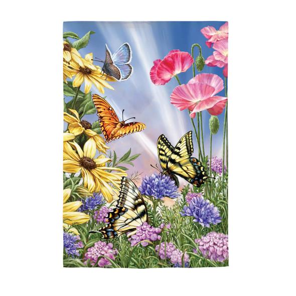 Butterfly Garden Suede Flag