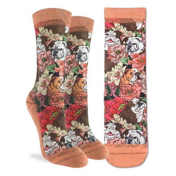 Floral Bulldog Small Socks