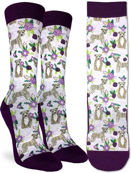 Floral Pit Bull Small Socks