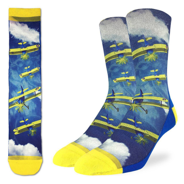 Biplane Fighter Large Socks