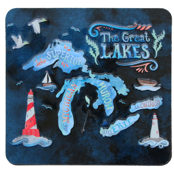 Watercolor Great Lakes Magnet