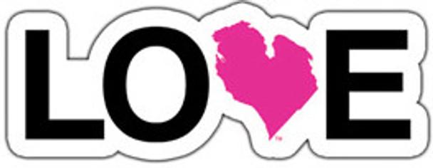 "Love Michigan 8"" Bumper Sticker White / Pink"