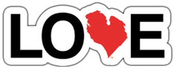 """Love Michigan 8"""" Die Cut Sticker White / Red"""