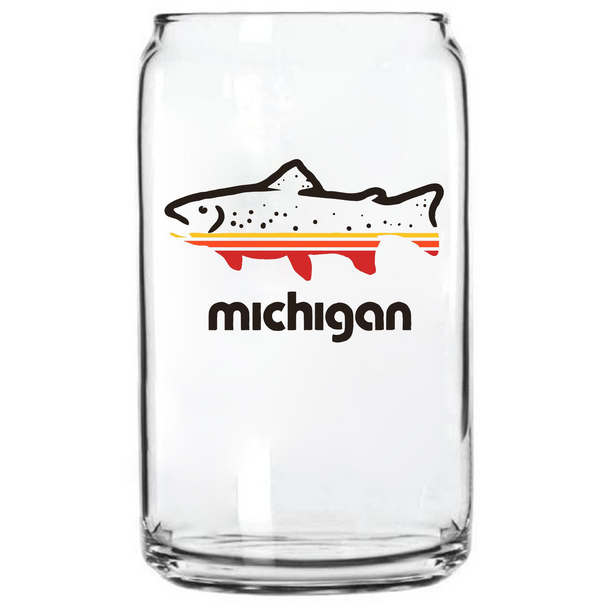 Fish Michigan Can Glass- The Mitten State