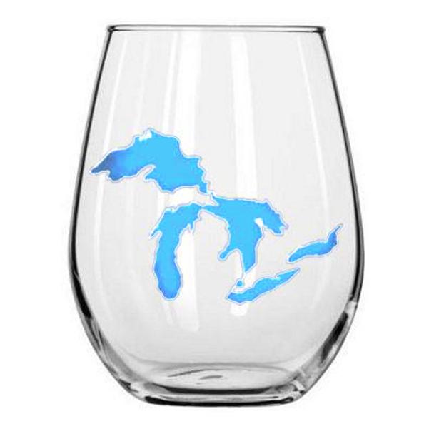 Light Blue Michigan Wine Glass- Great Lakes Proud
