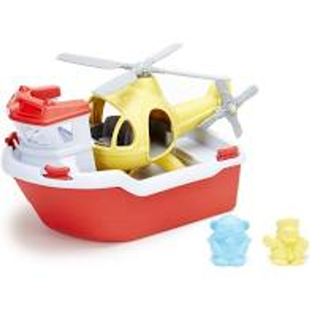 Rescue Boat and Helicopter- Green Toys