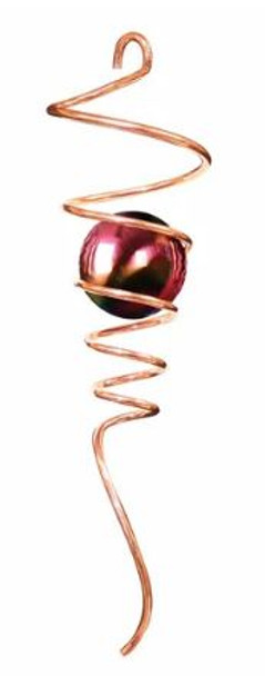 """10"""" Copper Spiral Tail with Gazing ball"""
