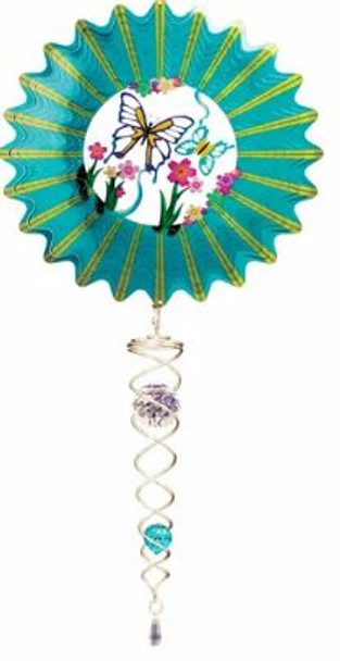 Teal Butterfly  mini stainless steel spinner set