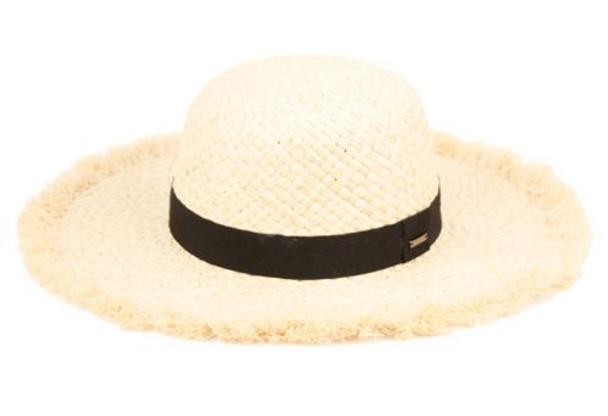 Rafia Raw Edge sun hat with band