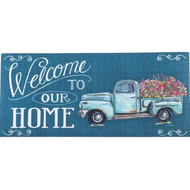 Floral Truck Welcome Sassafras Mat by Evergreen