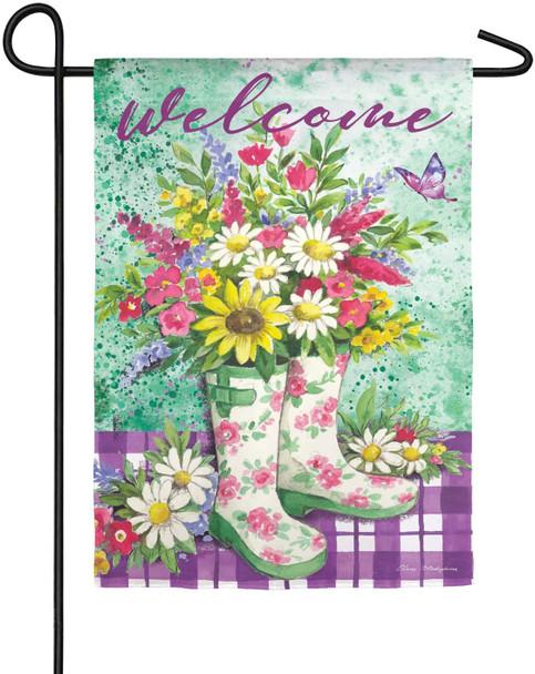 Floral Garden Boots Garden Banner