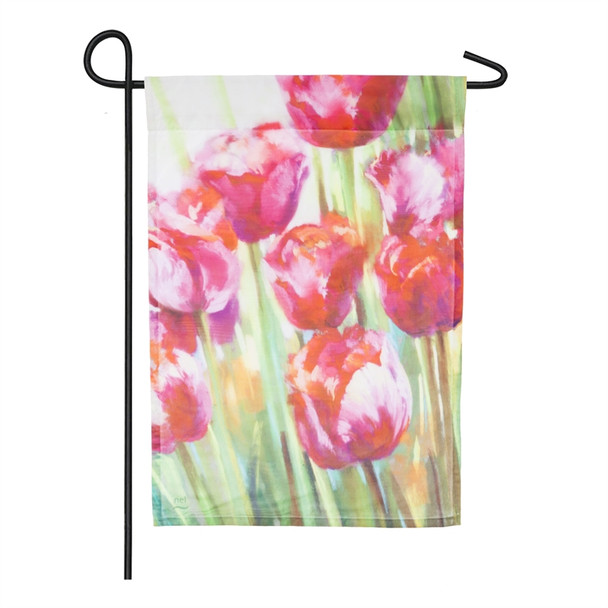 Pink Tulips Organza Garden Flag