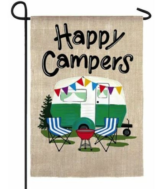 Happy Campers Travel Trailer Garden Flag by Evergreen