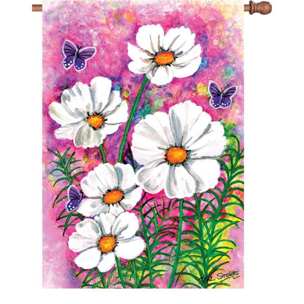Cosmos Flower Cluster House Flag
